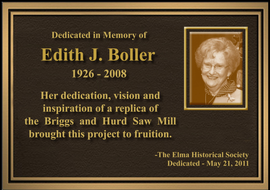 gallery/2011 Plaque of Edith J Boller for Sawmill